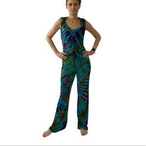 Jayli Tie Dye Hooded Jumpsuit Size Small